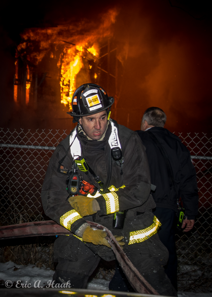 Chicago Firefighter at night fire scene