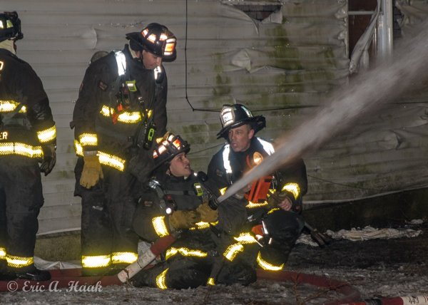 Chicago Firefighters at night fire scene
