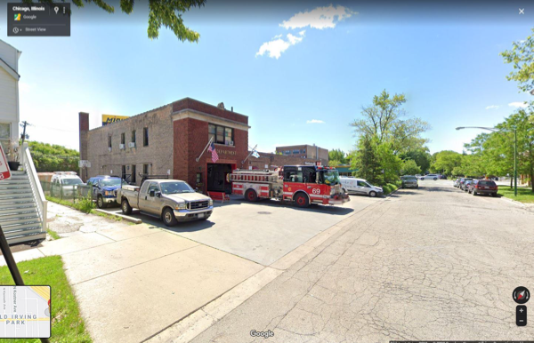 Google Maps Street View of Chicago FD Engine 69 firehouse