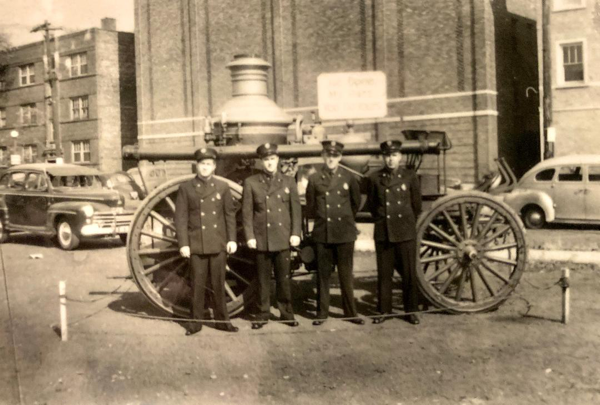 Cicero Firefighters with steam fire engine
