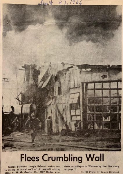Vintage news clipping of a fire in Cicero and Firefighter Joe Salerno