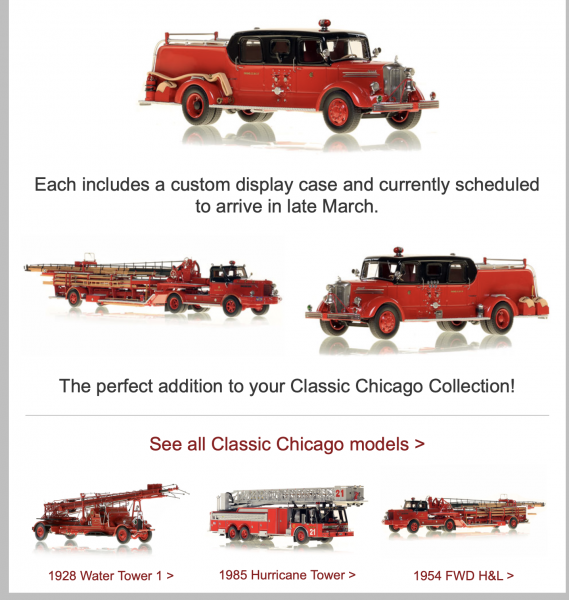 Die-Cast replica of Chicago FD Mack Sedan cab pumpers