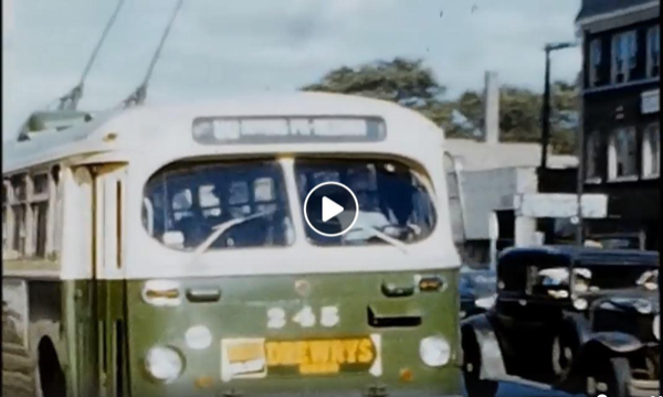 still frame from 1952 from movie showing old Chicago transit bus