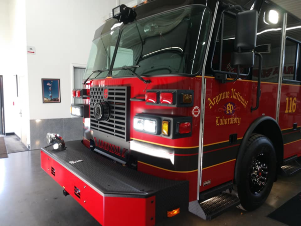 blacked out Sutphen fire engine