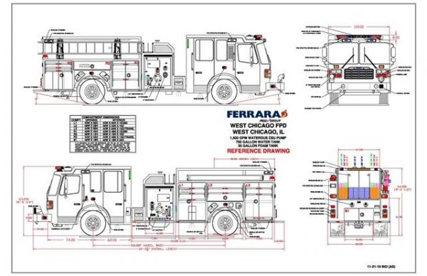 Ferrara fire engine drawing