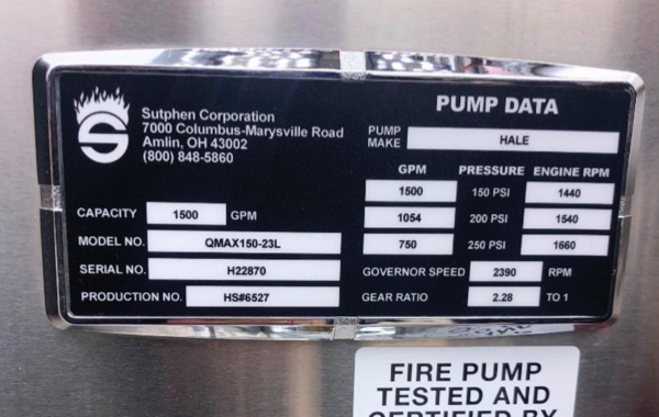 Sutphen fire engine law tag