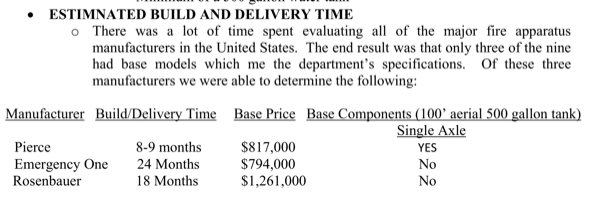 comparison bids for new Carpentersville fire truck