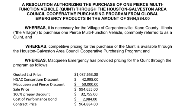 purchase authorization for new Pierce Impel PUC Ascendant 107' quint