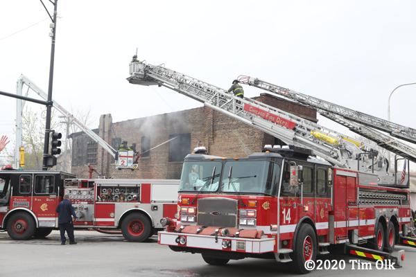 Chicago fire trucks on scene