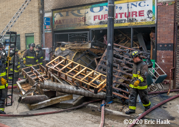 massive debris from furniture store fire