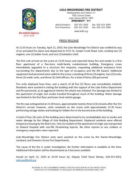 Lisle-Woodridge FPD press release