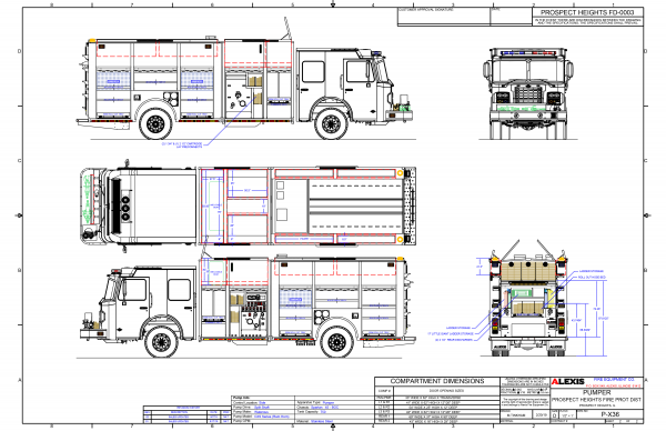 drawing of Alexis fire engine being built for the Prospect Heights FPD on a Spartan chassis