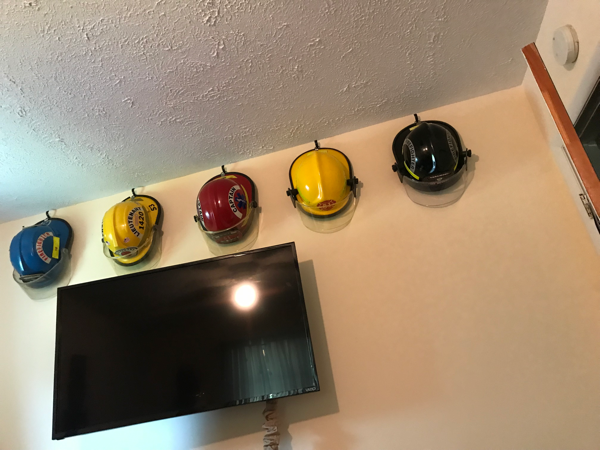 Brock Hathaway fire helmet collection