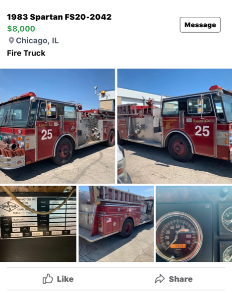 1983 Spartan FS20 Pirsch fire engine for sale