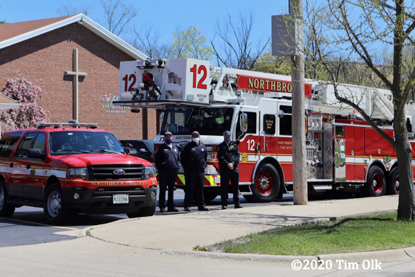 Northbrook Firefighters social distancing for funeral