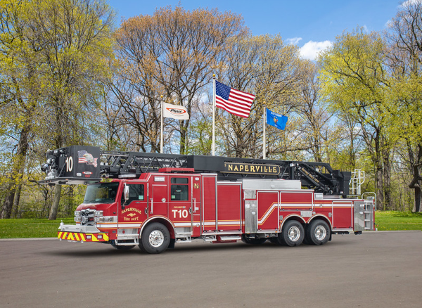 New Pierce Velocity tower ladder for Naperville FD Truck 10
