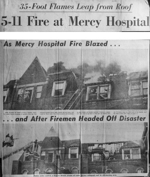 vintage clipping from Chicago's American in 1963 of a 5-11 Alarm fire at Mercy Hospital in Chicago