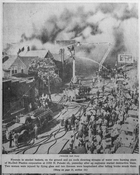 vintage Chicago Tribume news clipping of a major fire in Chicago at Nu-Dell Plastics