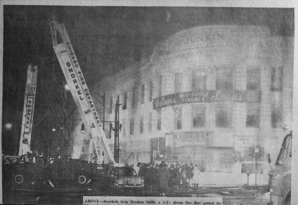 undated vintage news clipping of a 3-11 Alarm fire in Chicago
