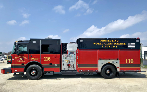 New Sutphen fire engine for the US Department of Energy's Argonne National Laboratory in Illinois