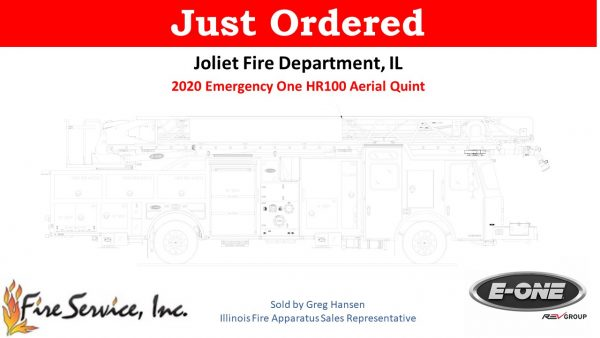 drawing of E-ONE HR100 quint for the Joliet Fire Department