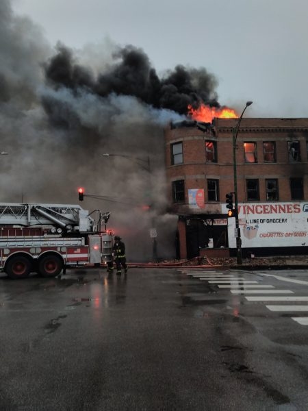 massive smoke and flames from building fire in Chicago