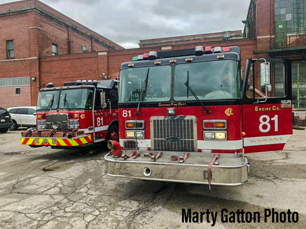 Chicago FD Engine Company 81 with their new engine and their old engine