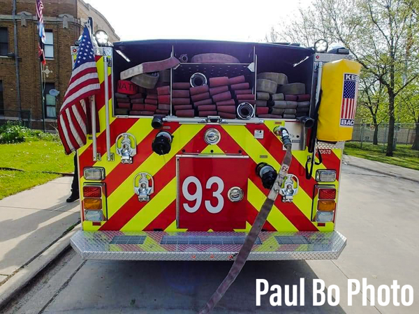 rear of Chicago fire engine with hose load