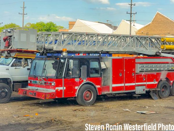 former Chicago fire truck in salvage yarg