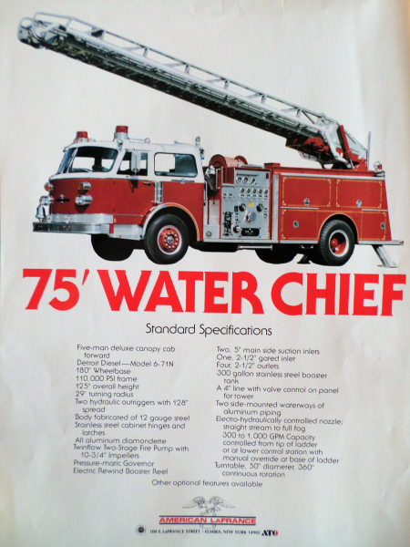 American LaFrance 75' Water Chief brochure