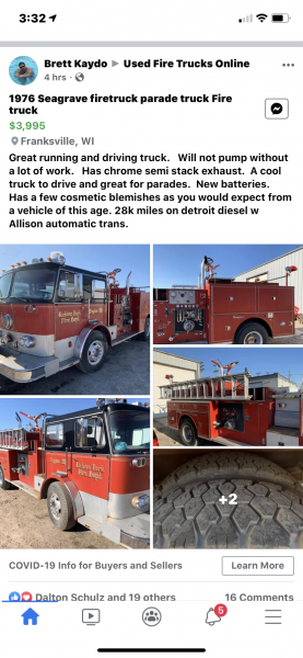 1976 Seagrave fire engine for sale