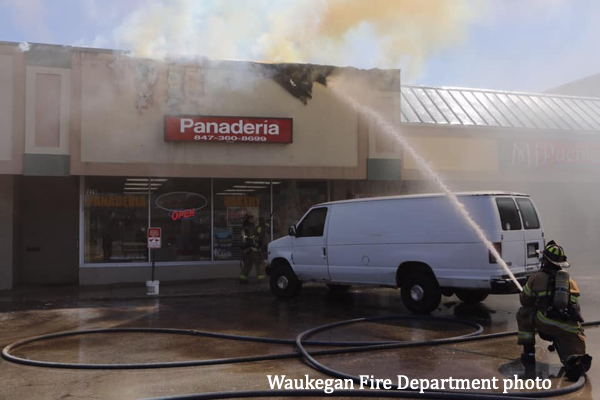 commercial fire scene in Waukegan