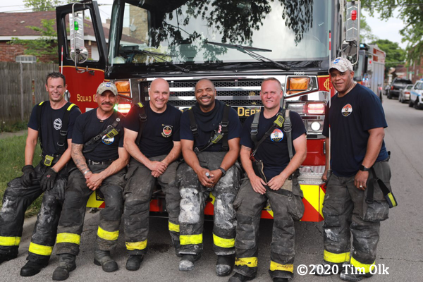 Firefighters after a fire