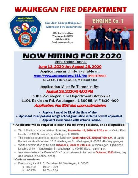 Waukegan Fire Department recruitment flyer