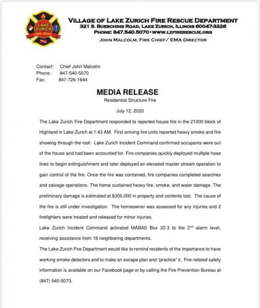 Lake Zurich Fire Rescue Department press release