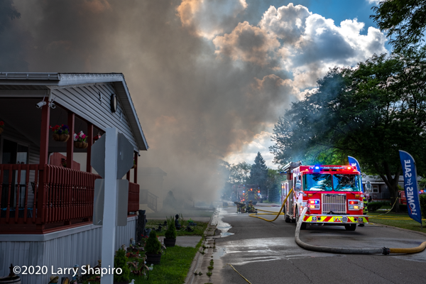 heavy smoke from trailer fire