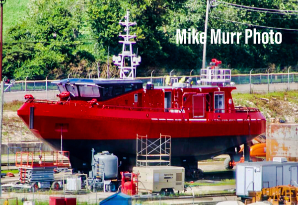 Chicago FD Fire Boat Christopher Wheatley, Engine 2 in dry dock being repainted