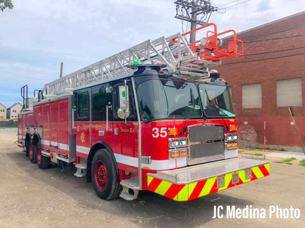 new E-ONE aerial ladder truck in Chicago