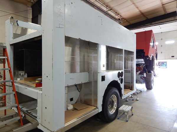 stainless steel fire engine being built