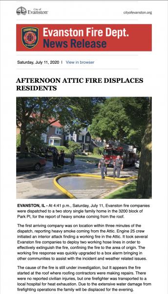 Evanston Fire Department press release