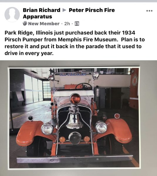 antique Pirsch fire engine going home