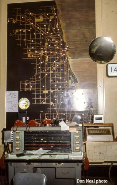 Chicago FD senior alarm operator desk in the old Main Fire Alarm Office