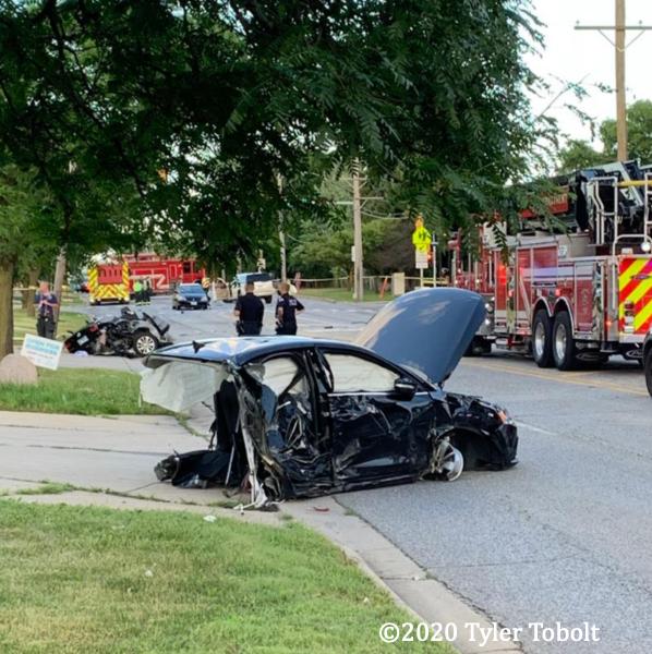 wreckage of car after bad crash