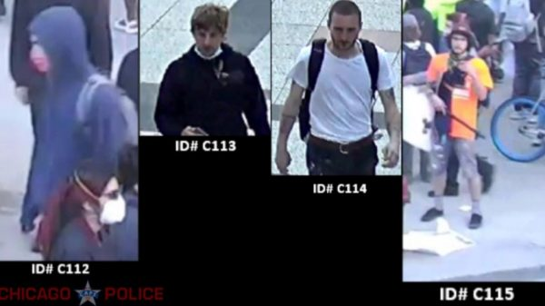surveillance images of four suspects wanted in connection with an arson incident that occurred in downtown Chicago during civil unrests and looting that took place in late May
