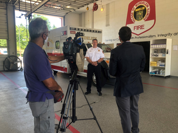 tv interview in fire station