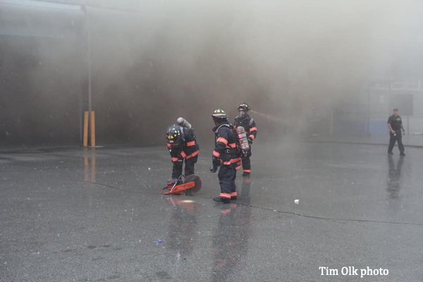 Firefighters at warehouse fire