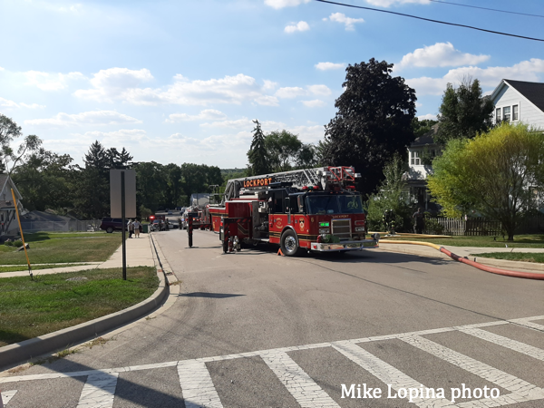 fire scene in Lockport
