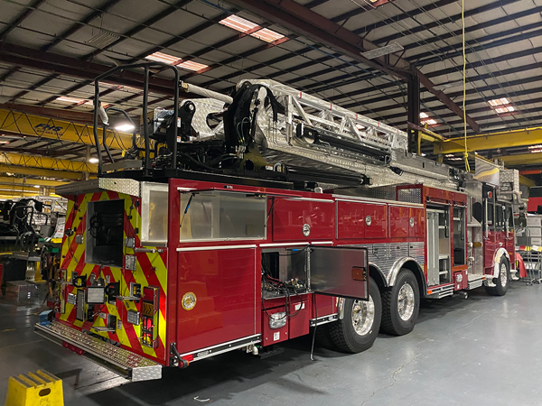 E-ONE aerial ladder being built
