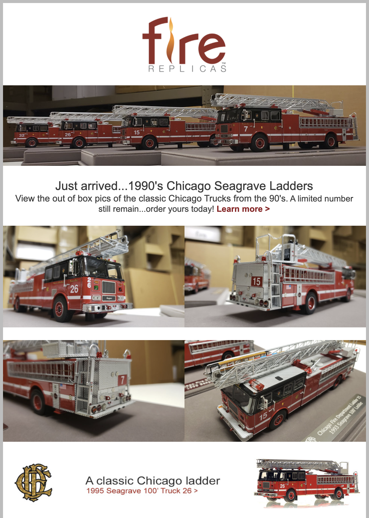 Fire Replicas 1990's Chicago Seagrave Ladders