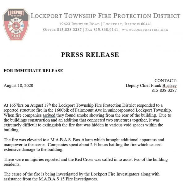Lockport Township FPD press release